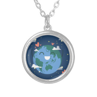 cute Earth Day Silver Plated Necklace
