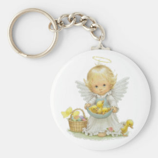 Cute Easter Angel And Ducklings Basic Round Button Keychain