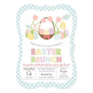 "Cute Easter Brunch Egg Hunting 5"" X 7"" Invitation Card"