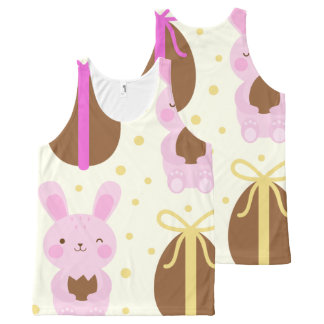 Cute Easter bunnies and chocolate eggs pattern All-Over-Print Tank Top