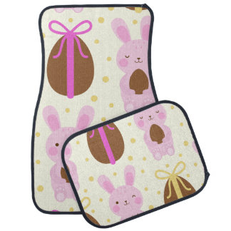 Cute Easter bunnies and chocolate eggs pattern Car Mat