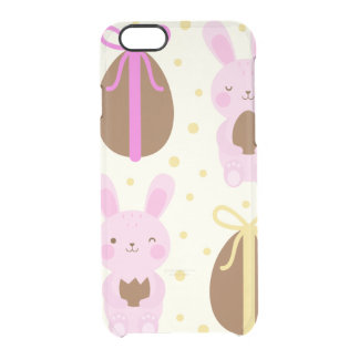 Cute Easter bunnies and chocolate eggs pattern Clear iPhone 6/6S Case