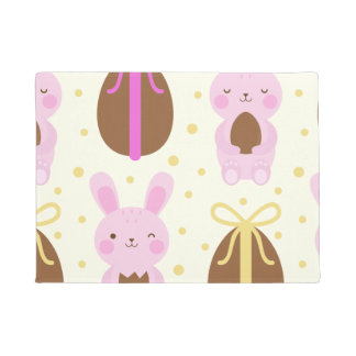 Cute Easter bunnies and chocolate eggs pattern Doormat
