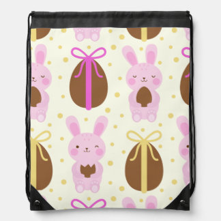 Cute Easter bunnies and chocolate eggs pattern Drawstring Bag