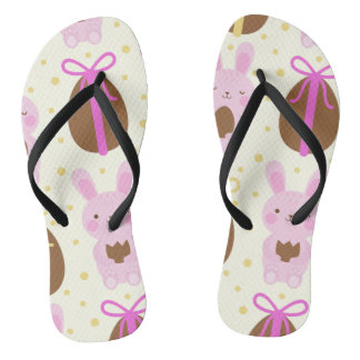 Cute Easter bunnies and chocolate eggs pattern Flip Flops
