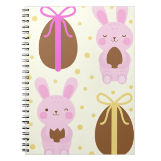 Cute Easter bunnies and chocolate eggs pattern Notebook
