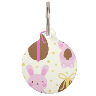 Cute Easter bunnies and chocolate eggs pattern Pet ID Tag