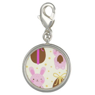 Cute Easter bunnies and chocolate eggs pattern Photo Charm
