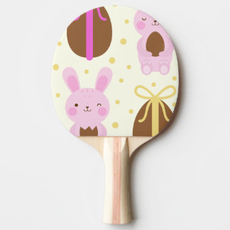 Cute Easter bunnies and chocolate eggs pattern Ping Pong Paddle