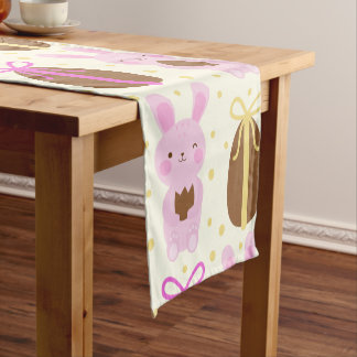 Cute Easter bunnies and chocolate eggs pattern Short Table Runner