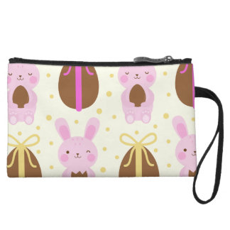 Cute Easter bunnies and chocolate eggs pattern Wristlet