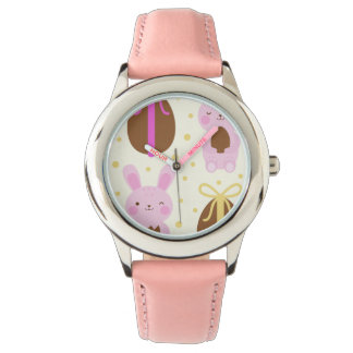 Cute Easter bunnies and chocolate eggs pattern Wristwatch