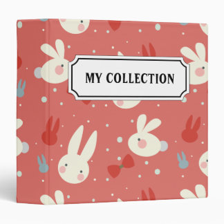 Cute easter bunnies on red background pattern 3 ring binders