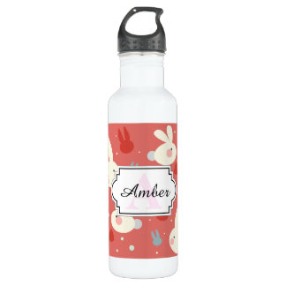 Cute easter bunnies on red background pattern 710 ml water bottle