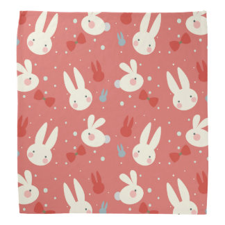 Cute easter bunnies on red background pattern bandana