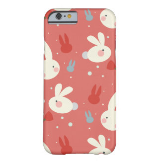 Cute easter bunnies on red background pattern barely there iPhone 6 case