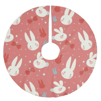 Cute easter bunnies on red background pattern brushed polyester tree skirt