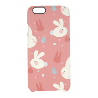 Cute easter bunnies on red background pattern clear iPhone 6/6S case