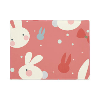 Cute easter bunnies on red background pattern doormat