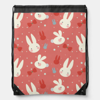 Cute easter bunnies on red background pattern drawstring bag