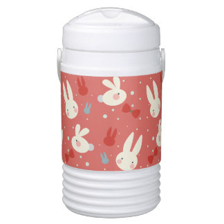 Cute easter bunnies on red background pattern drinks cooler