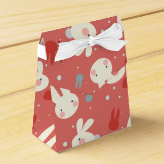 Cute easter bunnies on red background pattern favor box