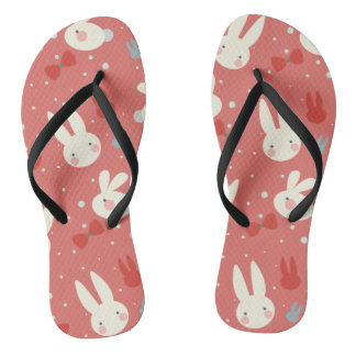 Cute easter bunnies on red background pattern flip flops