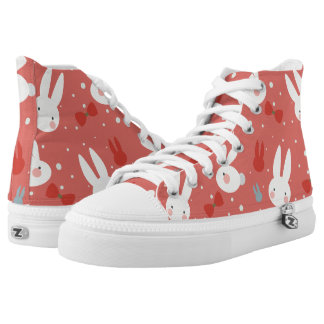Cute easter bunnies on red background pattern high tops