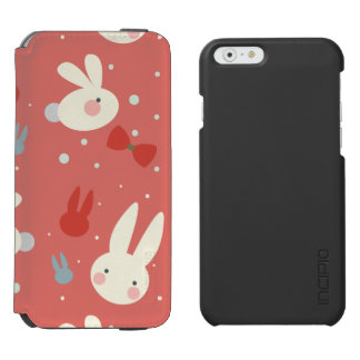 Cute easter bunnies on red background pattern incipio watson™ iPhone 6 wallet case