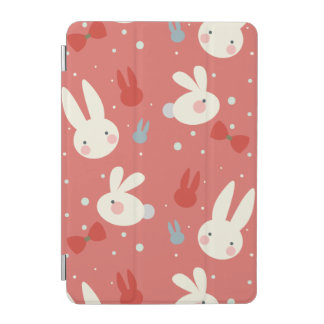 Cute easter bunnies on red background pattern iPad mini cover