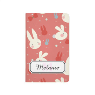 Cute easter bunnies on red background pattern journal