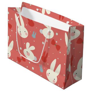 Cute easter bunnies on red background pattern large gift bag