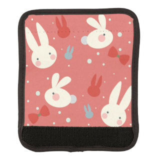 Cute easter bunnies on red background pattern luggage handle wrap