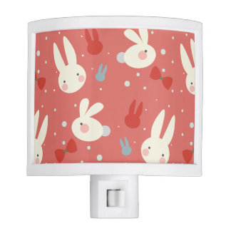 Cute easter bunnies on red background pattern night light