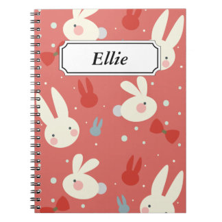 Cute easter bunnies on red background pattern notebooks