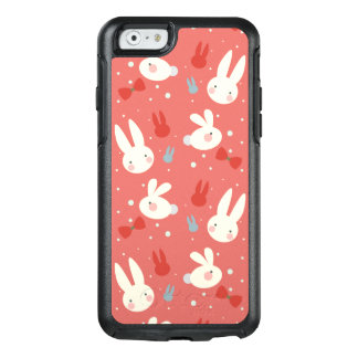 Cute easter bunnies on red background pattern OtterBox iPhone 6/6s case