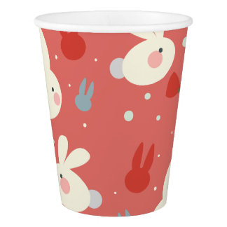 Cute easter bunnies on red background pattern paper cup