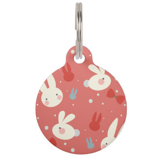 Cute easter bunnies on red background pattern pet name tag