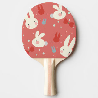 Cute easter bunnies on red background pattern Ping-Pong paddle
