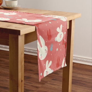 Cute easter bunnies on red background pattern short table runner