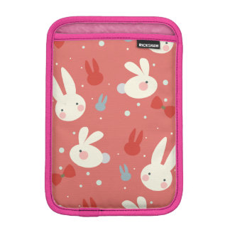 Cute easter bunnies on red background pattern sleeve for iPad mini