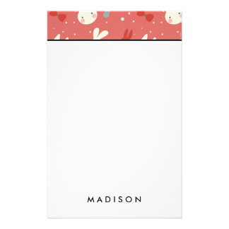 Cute easter bunnies on red background pattern stationery