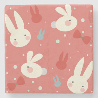 Cute easter bunnies on red background pattern stone coaster