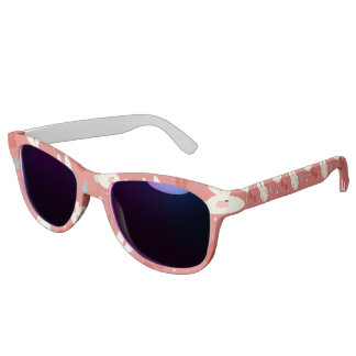 Cute easter bunnies on red background pattern sunglasses