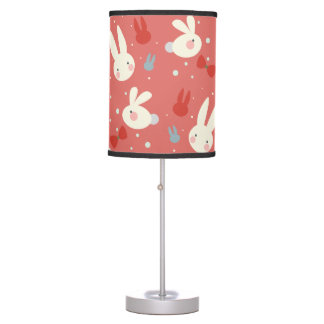 Cute easter bunnies on red background pattern table lamp