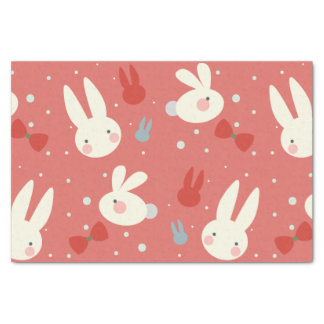 Cute easter bunnies on red background pattern tissue paper