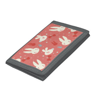 Cute easter bunnies on red background pattern trifold wallet