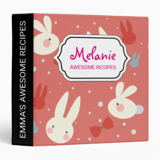 Cute easter bunnies on red background pattern vinyl binder