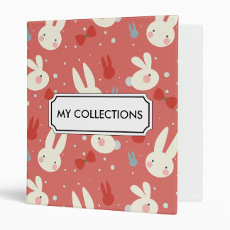 Cute easter bunnies on red background pattern vinyl binder