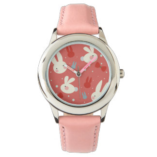 Cute easter bunnies on red background pattern wrist watch